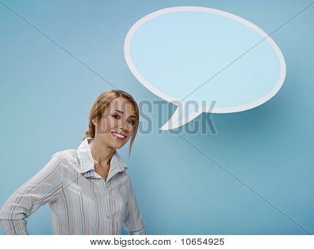 Businesswoman With Think Balloon