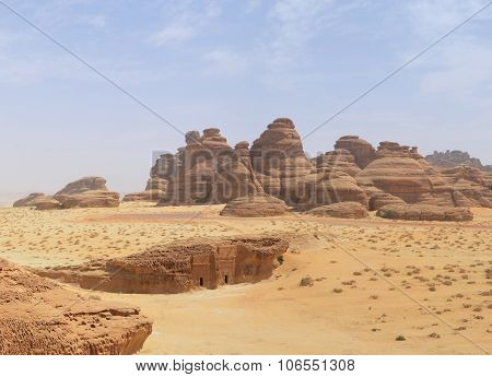 panoramic desert landscape with red rock mountains