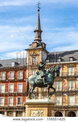 Statue Of Philip Iii At Mayor Plaza In Madrid
