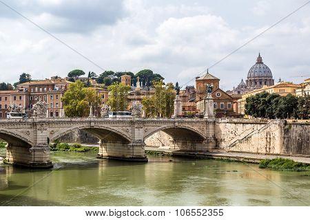 San Pietro  And Sant Angelo Bridge In Rome