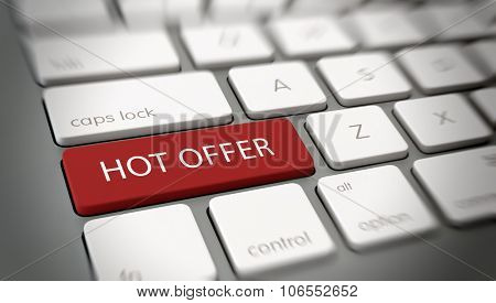 Hot Offer concept with white text - Hot Offer - on a red enter key on a white computer keyboard viewed at an oblique high angle with blur vignette for focus. 3d Rendering.
