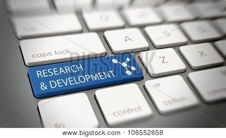 Online Research and Development concept with white text - Research and Development - and an atomic structure icon on a blue enter key on a white computer keyboard viewed high angle. 3d Rendering.