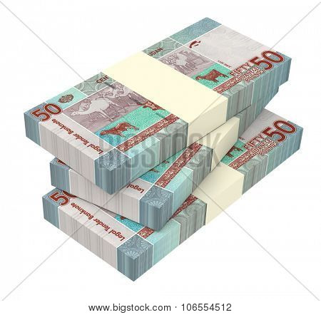 Sudanese pounds bills isolated on white background. Computer generated 3D photo rendering.