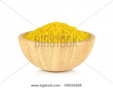Jasmine Rice Coated With Turmeric Herb In Bowl On White Background
