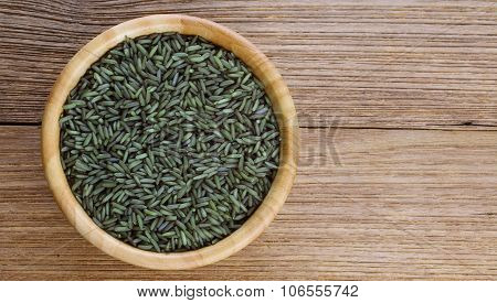 Pandanus Rice In Wooden Bowl On Wooden Background