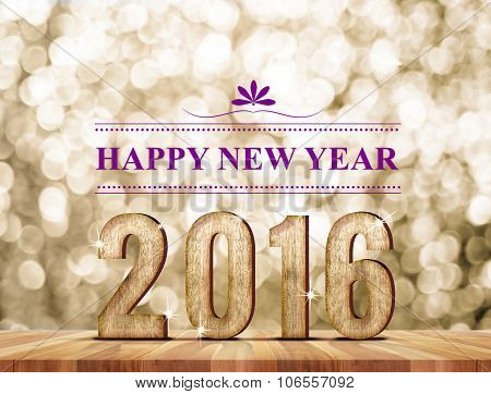 Happy New Year 2016 Wood Number In Perspective Room With Sparkling Bokeh Wall And Wooden Plank Floor
