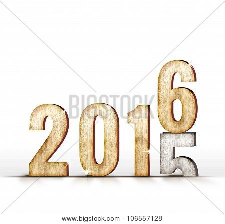2015 Wood Number Year Change To 2016 Year In White Studio Room, New Year Concept