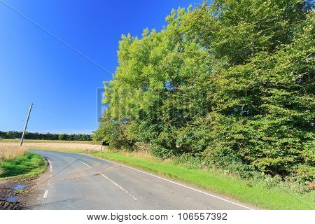 Beautiful Countryside And Rural Road Of Aberdeen, Scotland Uk