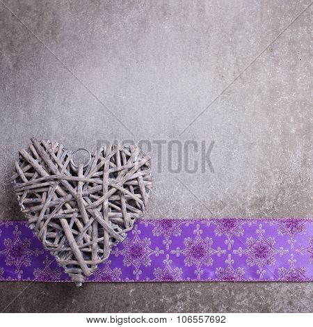Decorative  Heart On  Grey Slate  Background.