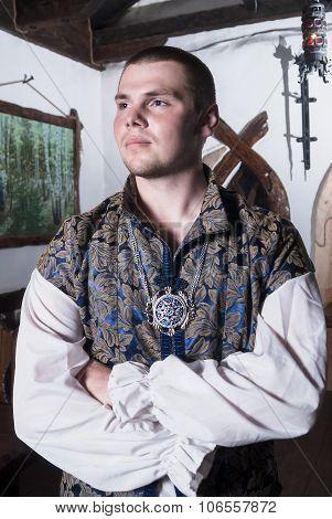 Attractive man in retro style costume
