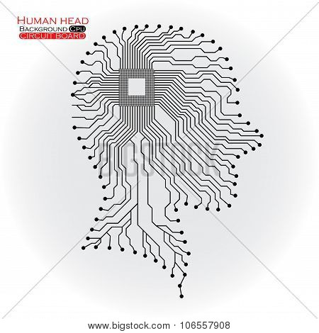 Human head. Cpu. Circuit board. Vector illustration. Eps 10