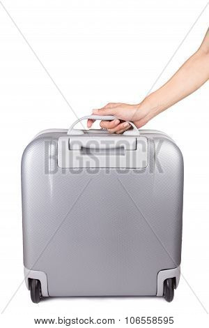 Holding Suitcase In Hand Isolated On White Background