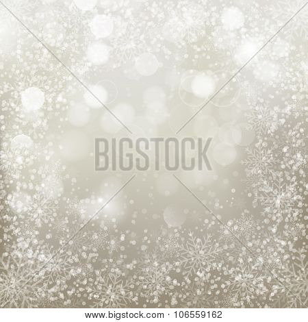 Silver Background With  Snowflakes.