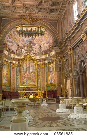 Rome, Italy - October 2015 - Interior Of The Ancient Basilica Of St John And Paul Decorated For Wedd