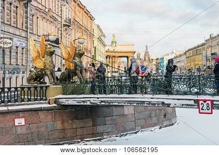 Griffon Sculpture Of Bank Bridge In St.petersburg