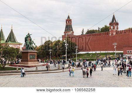 Tourists And Townspeople Have Cathedral On The Red Square In Moscow.