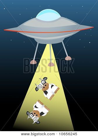 Ufo Beaming Up Two Cows In Beam Of Light