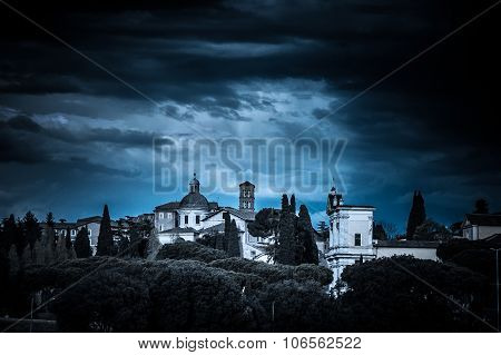Artistic Dark Vignette Blue Tones Edit Of A View Of Celio Hill In Rome