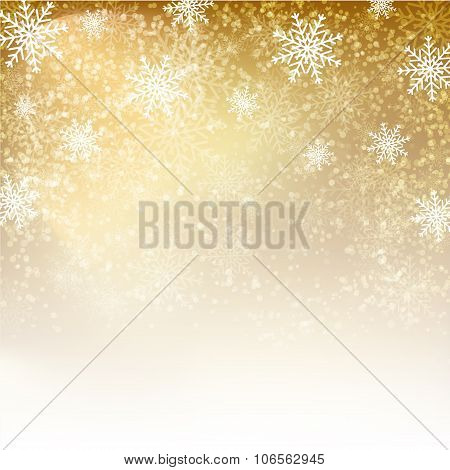 Gold Background With  Snowflakes.