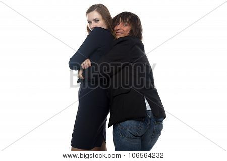 Woman and stupid man in black jacket