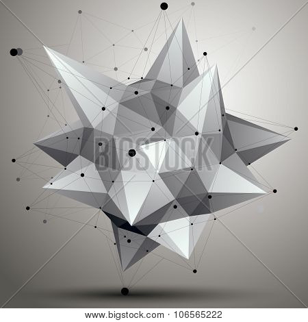 Spatial Technological Contrast Shape, Polygonal Single Color Wireframe Object.