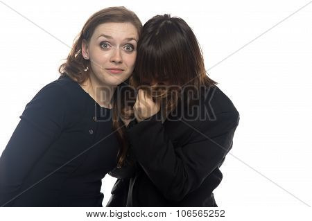 Surprised woman and sick man in black jacket