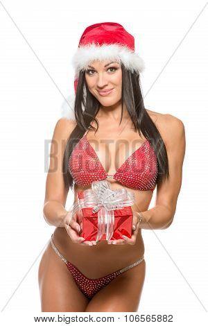 beautiful fitness model in a red bikini