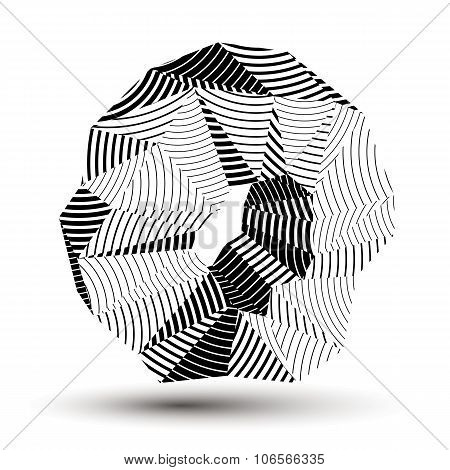 Geometric Abstract 3D Complicated Striped Object, Monochrome Asymmetric Three-dimensional Element Is