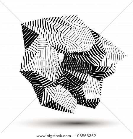 Asymmetric 3D Abstract Striped Object, Monochrome Geometric Spatial Form. Render And Modeling.