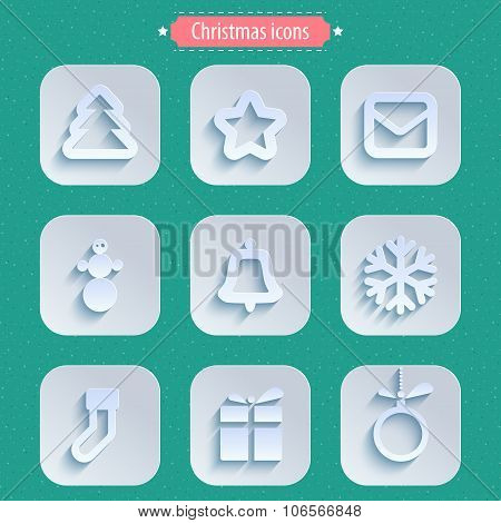 Christmas winter icons in paper style.