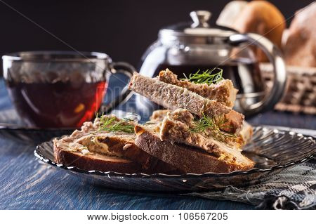 Slices Of Bread With Baked Pate On Plate