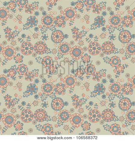 cute retro flower seamless pattern. floral vector background