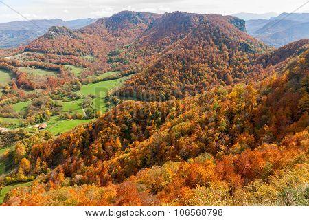Vall D'en Bas Fall Landscape In La Garrotxa, Catalonia