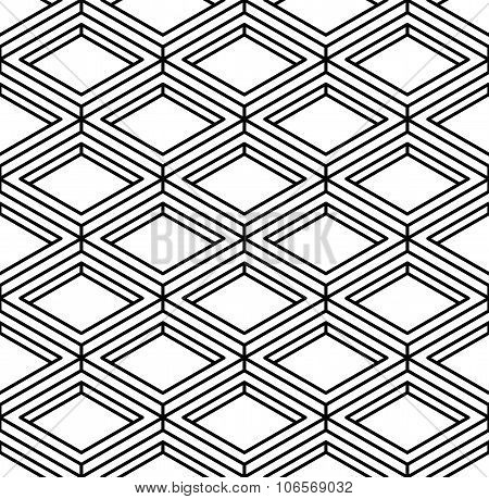 Black And White Illusive Abstract Geometric Seamless 3D Pattern. Vector Stylized Infinite Backdrop