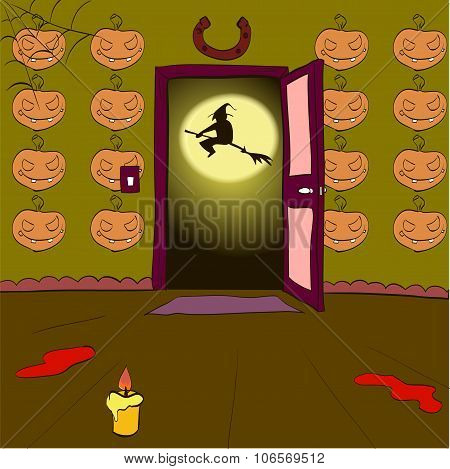 Witch On A Broomstick In The Open Doorway