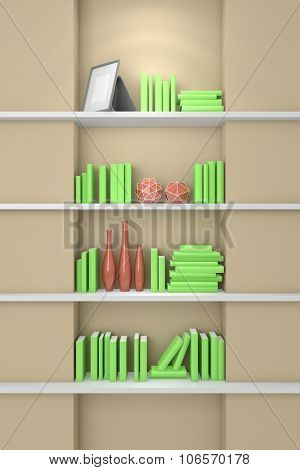 3d rendered modern bookshelf.