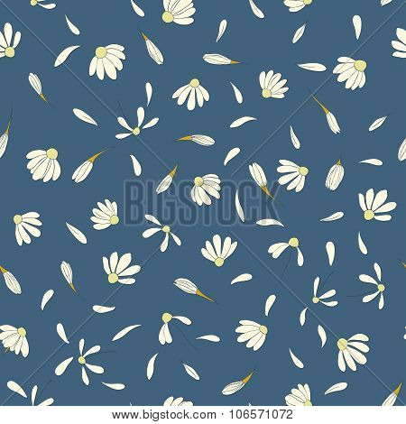 Seamless pattern with cute chamomile flowers. floral vector