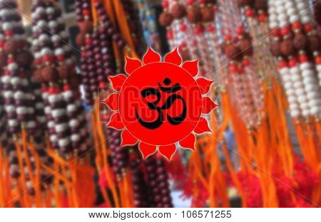 Ohm Symbol on Rudraksha BG, Hindu Devotional