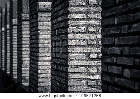 Abstract artistic black and white light and shade brick textures