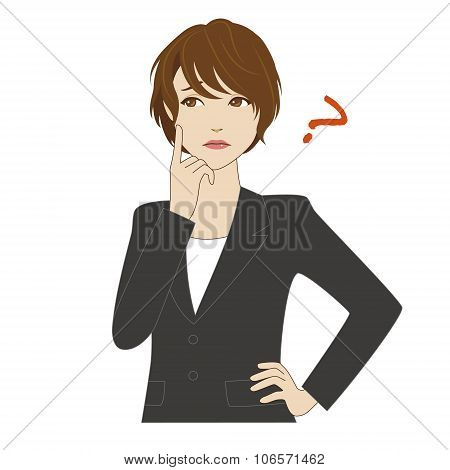 Young Woman In Business Suit Thinking