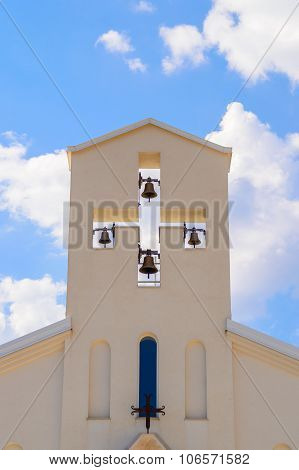 Church Bell Tower In A Shape Of The Cross