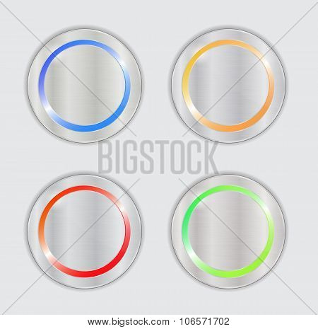 multicolored vector buttons. metal buttons