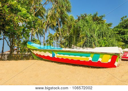Colorful exotic boat on beach with palm trees