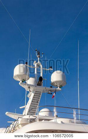 Communication Antennas On A Luxury Yacht