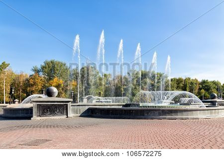Musical Fountain In The Square Of Peter The Great. Lipetsk. Russia