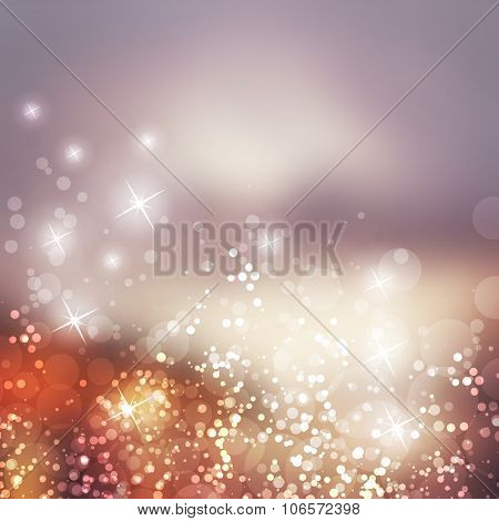 Sparkling Cover Design Template with Abstract, Blurred Background - Cover to Christmas, New Year or Other Designs - Colors: Grey, Orange, Brown