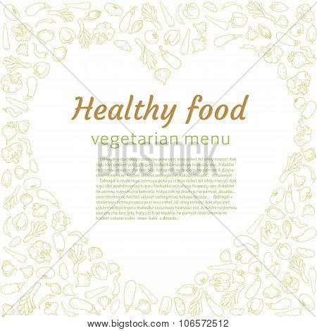 silhouettes of veggies shaped in healthy heart. Vegetarian menu