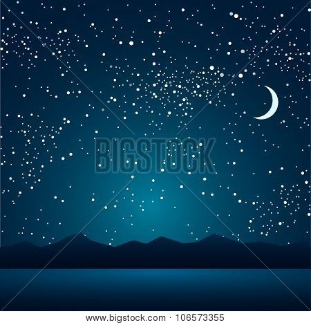 Vector background. Night lake and mountains in the background of the sky.
