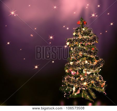 lighten Christmas tree on blue star sky