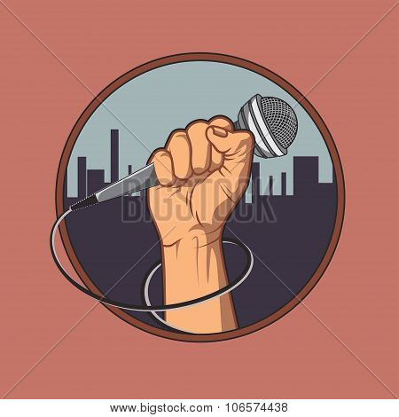 hand holding a microphone in a fist, background silhouette of the city. retro poster. vector illustr